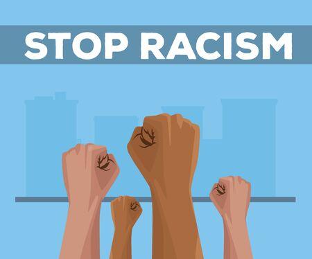 interracial hands stop racism campaign vector illustration design