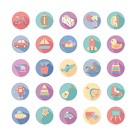 bundle of toys set icons vector illustration design