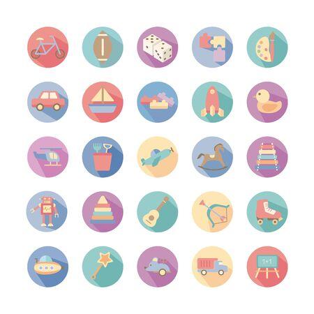 Ensemble de jouets mis en conception d'illustration vectorielle d'icônes