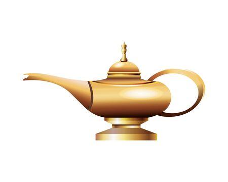 Antique golden magic lamp icon vector illustration graphic design
