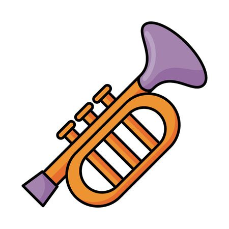 trumpet musical instrument flat style icon vector illustration design