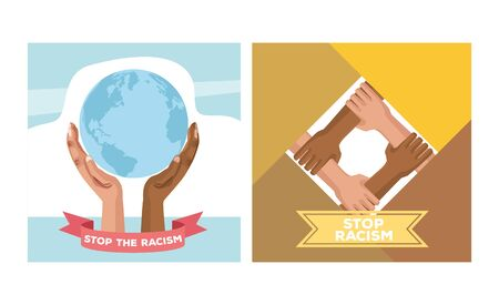 interracial hands lifting world planet stop racism campaign vector illustration design Illustration