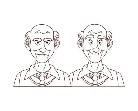 couple of old grandfathers characters vector illustration design