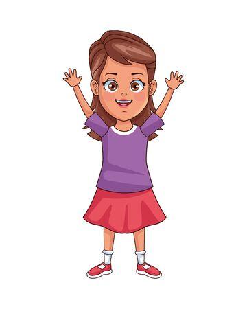 happy little girl avatar character vector illustration design