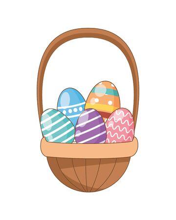 Eier gemalt Ostern im Korbvektorillustrationsdesign