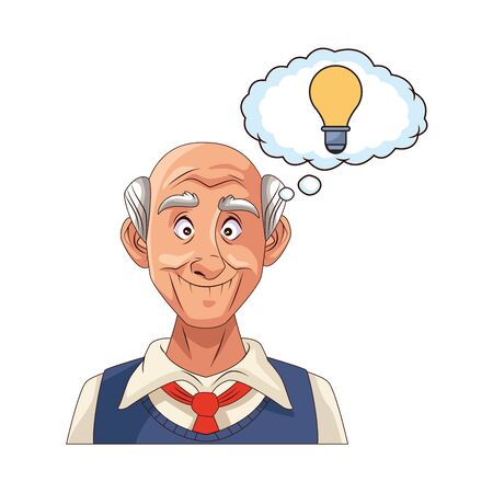 old grandfather with bulb in speech bubble vector illustration design