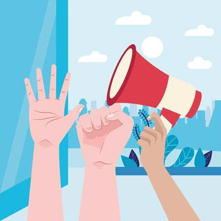 activist hand human with megaphone vector illustration design 矢量图像