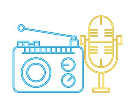 Vintage radio stereo isolated icon vector illustration design