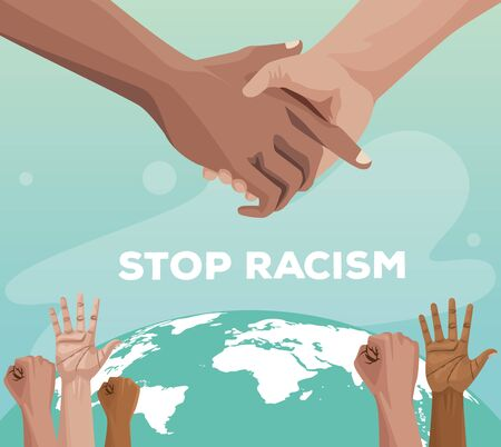 interracial hands with world planet stop racism campaign vector illustration design