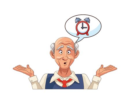 old grandfather with alarm clock in speech bubble vector illustration design