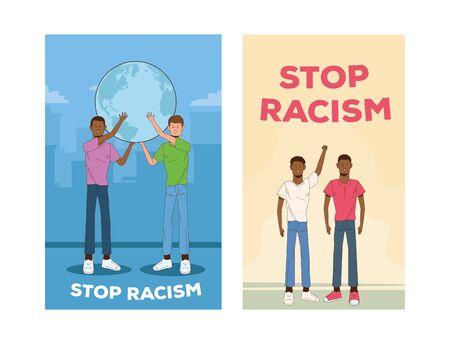 group of interracial men stop racism campaign vector illustration design