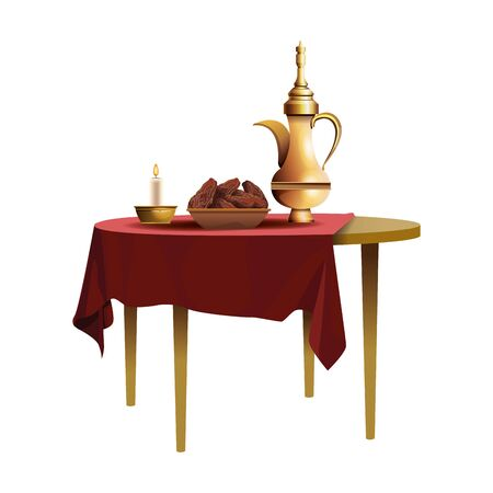 ramadan kareem dish with food and teapot in table vector illustration design Vectores