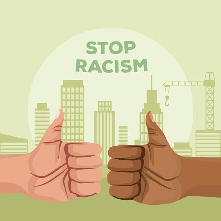 interracial hands like stop racism campaign vector illustration design