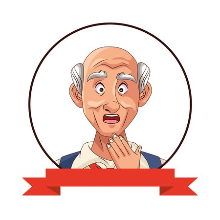 old grandfather character with ribbon frame vector illustration design