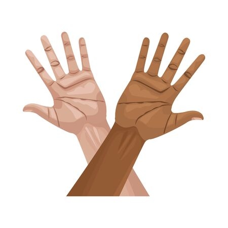 interracial hands human up isolated icon vector illustration design 일러스트