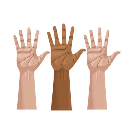 interracial hands human up isolated icon vector illustration design Illustration