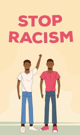 Couple d'hommes afro arrêter la conception d'illustration vectorielle campagne de racisme