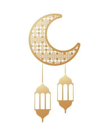 ramadan kareem golden lanterns hanging with crecent moon vector illustration graphic design