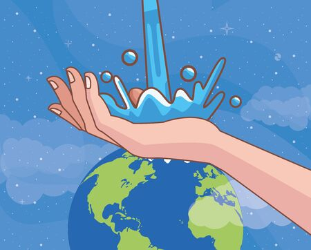 handwashing with world planet corona virus scene vector illustration design
