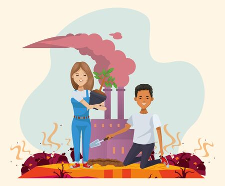 couple of environmentalists with factory polluting vector illustration design Illustration