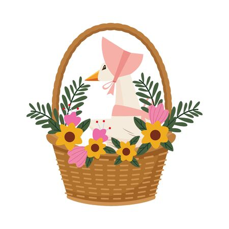 cute mom duck in basket and flowers easter character vector illustration design