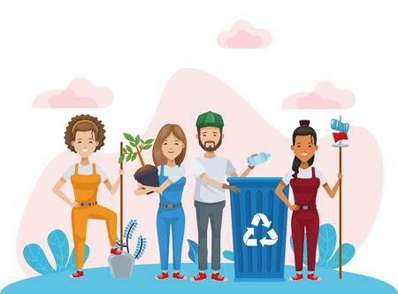 group of environmentalists recycling and planting characters vector illustration