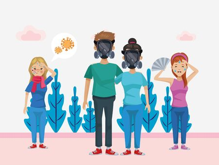 group of environmentalists avatars characters vector illustration design