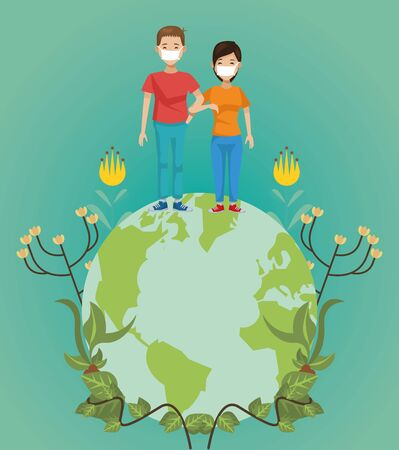 couple of environmentalists with world planet vector illustration design