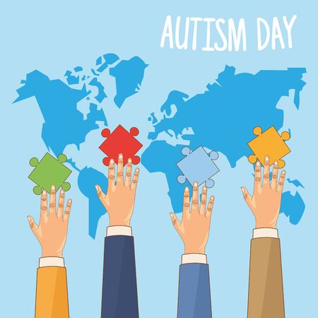 world autism day with hands and puzzle game pieces vector illustration design
