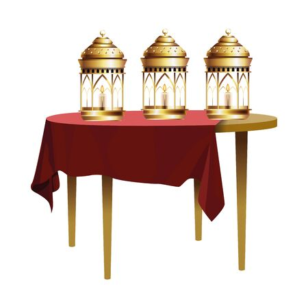 Antique golden magic lamps and candles in table vector illustration graphic design