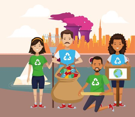 group of environmentalists recycling characters vector illustration design
