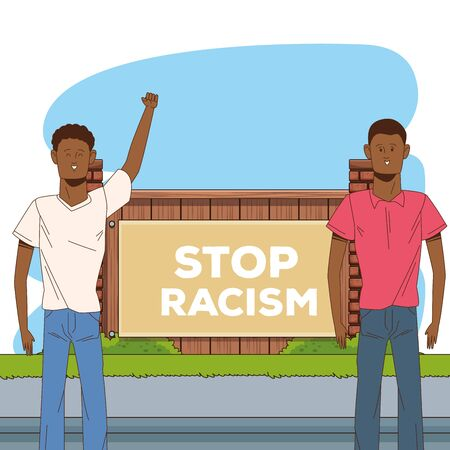 couple of afro men stop racism campaign vector illustration design