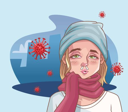 woman sick with corona virus scene vector illustration design