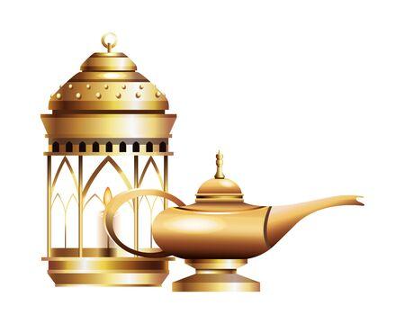 Antique golden magic lamp with lantern vector illustration graphic design