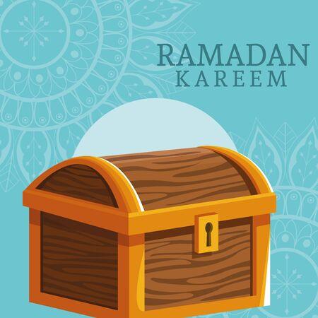 ramadan kareem celebration card with chest vector illustration design