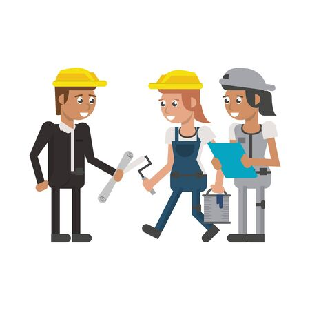 Construction workers and architect with plans and paint tools
