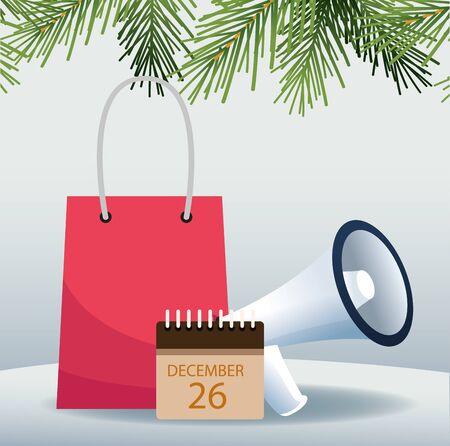 Shopping bag, calendar and megaphone over gray background, colorful design, vector illustration Standard-Bild - 142162144