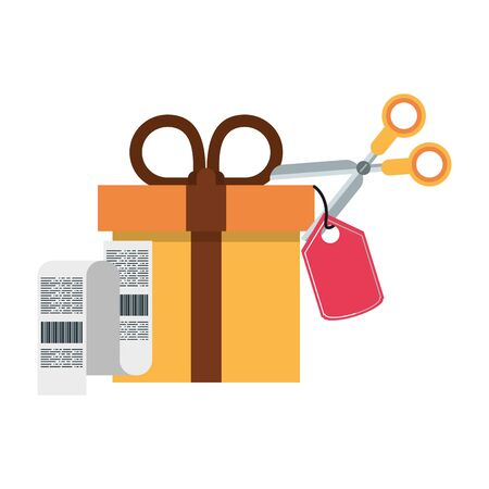Shopping giftbox with label tag and bill symbols vector illustration graphic design  イラスト・ベクター素材