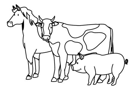 farm, animals and farmer horse, pig and cow icon cartoon in black and white vector illustration graphic design
