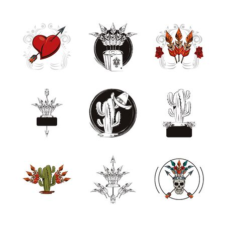 bundle of tattoos images icons vector illustration design