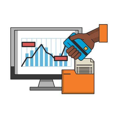 online stock market computer and hand with credit card with folder vector illustration  イラスト・ベクター素材