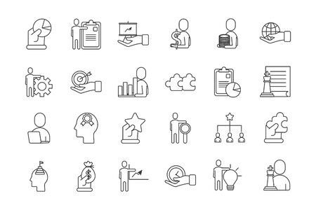 bundle of business success icons vector illustration design