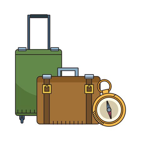 compass and travel suitcases icon over white background, vector illustration Ilustracja