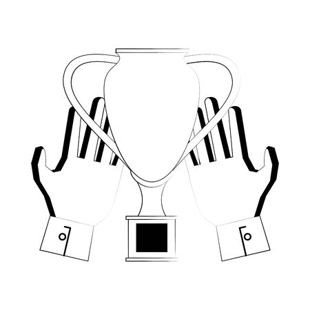 Soccer football sport game trophy cup and goalkeeper gloves vector illustration graphic design
