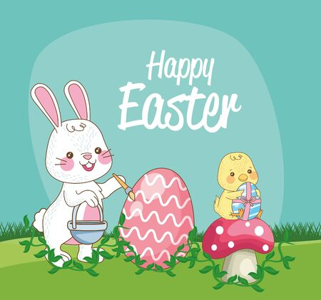 happy easter seasonal card with chick and rabbit painting egg vector illustration design