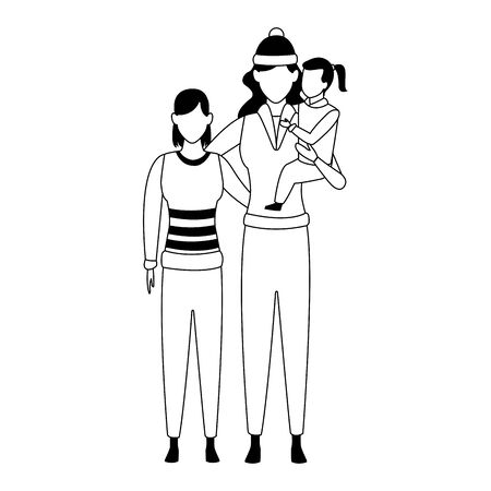 avatar woman with teen girl and little girl icon over white background, vector illustration