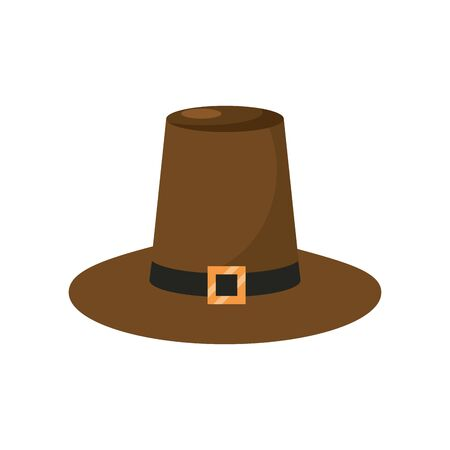 pilgrim hat traditional accessory icon vector illustration design