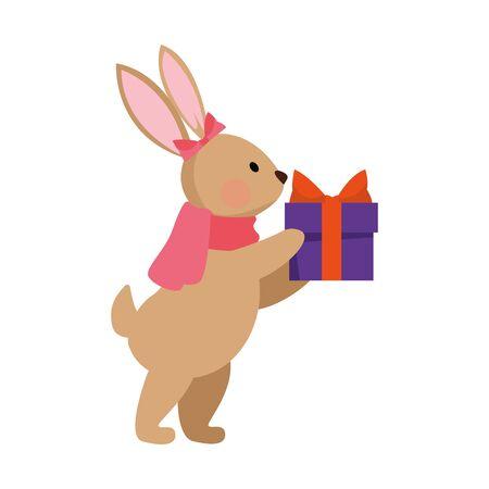 cartoon christmas rabbit with gift box icon over white background, vector illustration Standard-Bild - 142158776