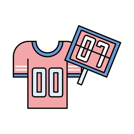 american football sport uniform shirt and numbers pallete vector illustration design