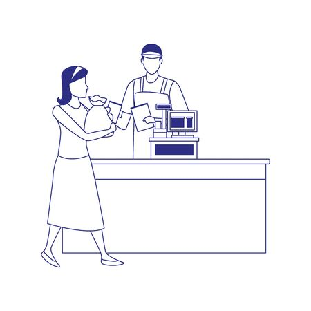 man cashier in the cash with customer with supermarket bags over white background, vector illustration